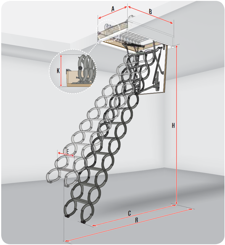 schody strychowe Fakro metalowe nożycowe LST