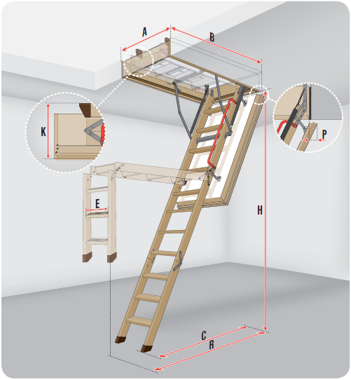 schody strychowe Fakro LWF 45 wymiary