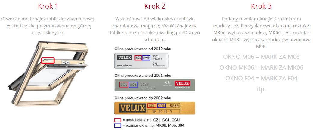 Dobór markizy Velux MHL 5060