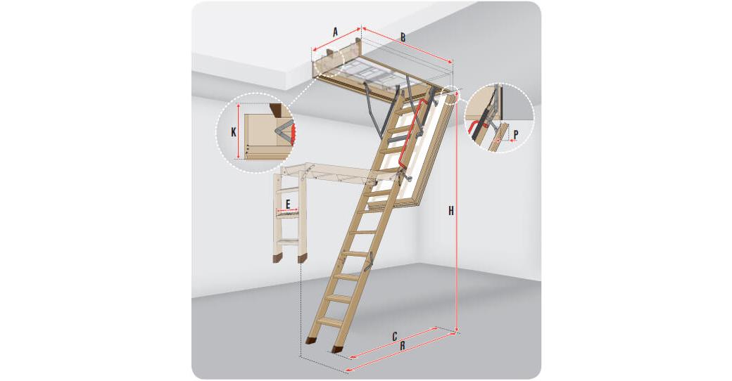 Wymiary schodów strychowych Fakro